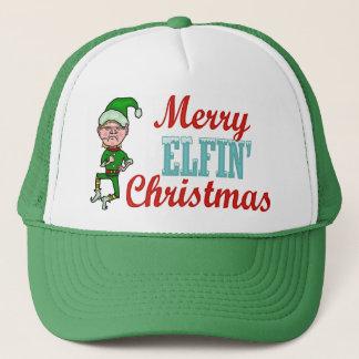 Funny Merry Elfin Christmas Trucker Hat