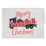 Funny Merry Truckin Christmas Greeting Card