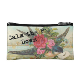 Funny message cosmetic bag beautiful vintage bird