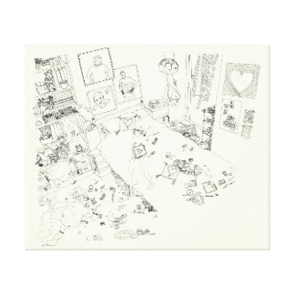 Funny messy teenagers bedroom art canvas