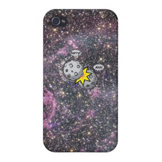 Funny meteor collision in space Cartoon Case For iPhone 4