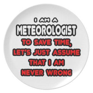 Funny Meteorologist T-Shirts and Gifts Dinner Plate