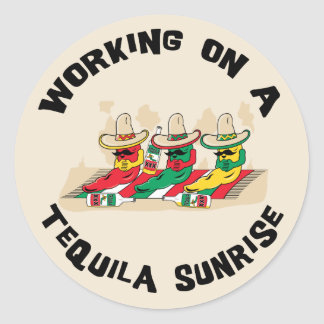 Funny Mexican Tequila Sunrise Classic Round Sticker