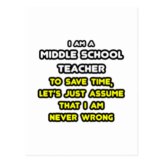 Funny Middle School Teacher T-Shirts and Gifts Postcard