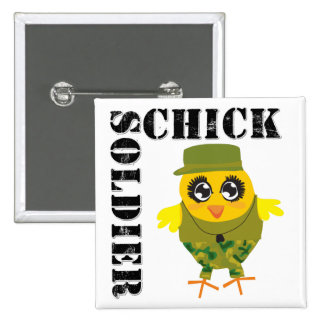 Funny Military Gifts - Soldier Chick Pinback Buttons
