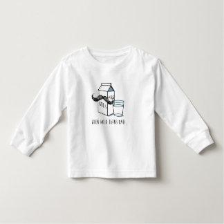 Funny Milk & Moustache Toddler Long-Sleeve T-Shirt