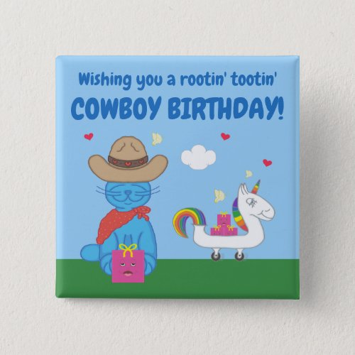 Funny Milo Blue Cat Cowboy Birthday Wishes Button