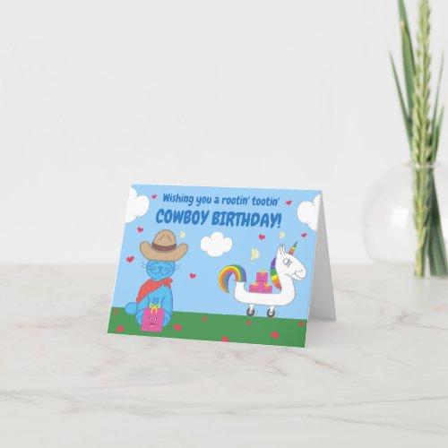 Funny Milo Blue Cat Cowboy Birthday Wishes Card