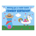 Funny Milo Blue Cat Cowboy Birthday Wishes Lined Postcard