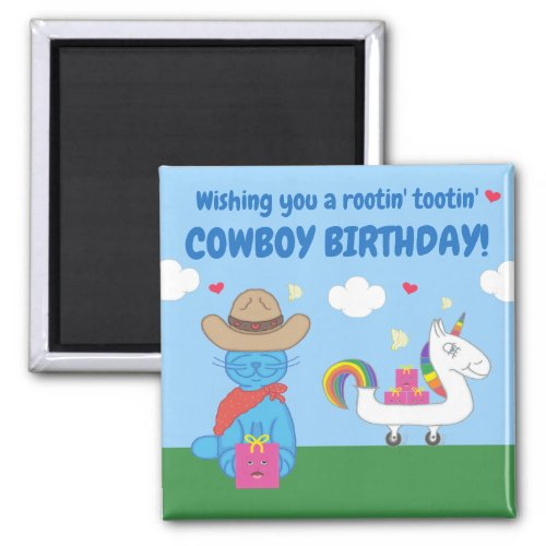 Funny Milo Blue Cat Cowboy Birthday Wishes Magnet