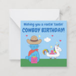 Funny Milo Blue Cat Cowboy Birthday Wishes Note Card