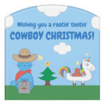 Funny Milo Blue Cat Cowboy Christmas Door Sign