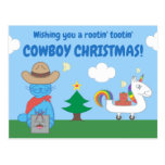 Funny Milo Blue Cat Cowboy Christmas Lined Postcard