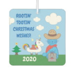 Funny Milo Blue Cat Cowboy Christmas Wishes Air Freshener