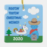 Funny Milo Blue Cat Cowboy Christmas Wishes Ceramic Ornament