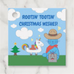 Funny Milo Blue Cat Cowboy Christmas Wishes Favor Tags