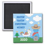Funny Milo Blue Cat Cowboy Christmas Wishes Square Magnet