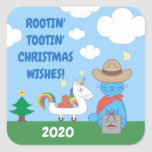 Funny Milo Blue Cat Cowboy Christmas Wishes Square Sticker