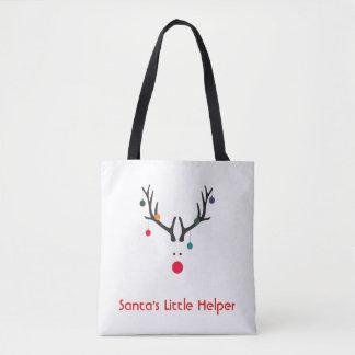 Funny minimalist Santa's helper reindeer on white Tote Bag