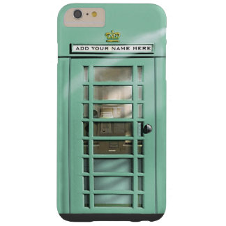 Funny Mint Green British Phone Box Personalized Barely There iPhone 6 Plus Case