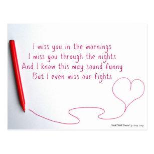 I Miss You Poems Postcards Zazzle