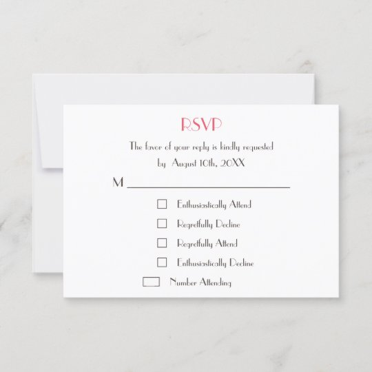 Fun Wedding Rsvp Card Wording: Funny Modern Custom Wedding White RSVP Card Invite
