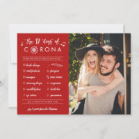 Funny Modern Twelve Days of Corona Red Photo Holiday Card