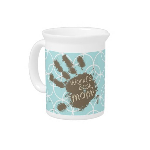 Funny Mom; Baby Blue Circles Beverage Pitchers