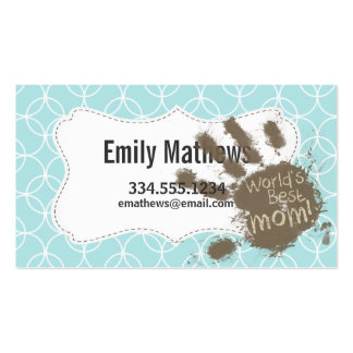 Funny Mom; Baby Blue Circles Business Card