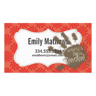 Funny Mom, Coral & Red Swirl Business Card
