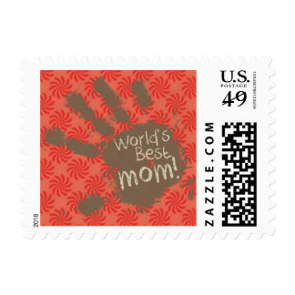 Funny Mom, Coral & Red Swirl Stamp
