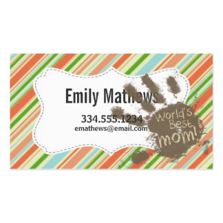 Funny Mom Gift; Peach & Forest Green Striped Business Card