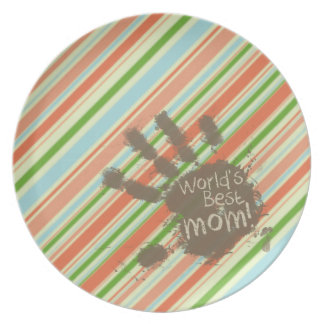 Funny Mom Gift Peach Forest Green Striped Party Plate