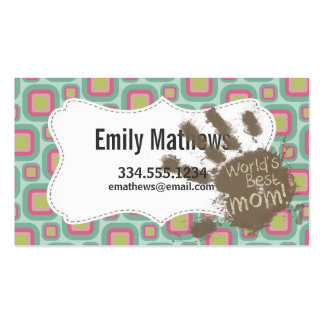 Funny Mom Gift; Pink and Mint Retro Business Card