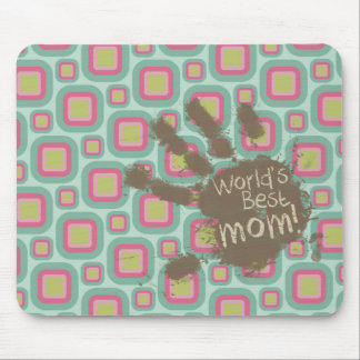 Funny Mom Gift; Pink and Mint Retro Mouse Pad