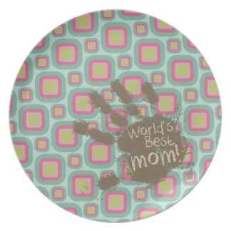 Funny Mom Gift Pink and Mint Retro Party Plate