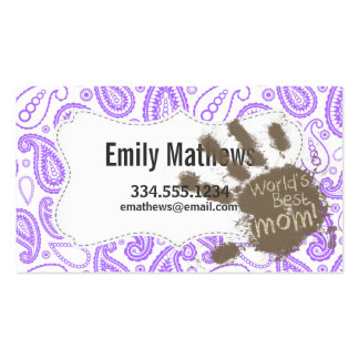 Funny Mom Gift; Purple Paisley Pattern Business Card