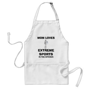 Funny Mom Loves Extreme Sports (in Kitchen) Apron at Zazzle