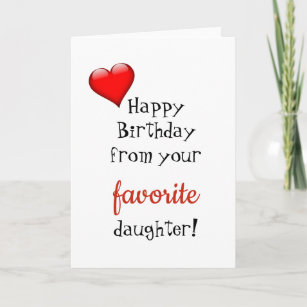 Funny Mom Mother Birthday Card Favorite Daughter