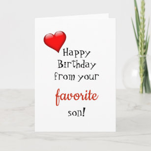 Funny Mom Mother Birthday Card From Favorite Son