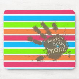 Funny Mom; Retro Neon Rainbow Mouse Pad