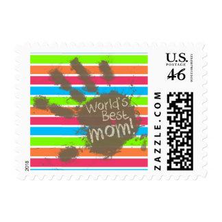 Funny Mom; Retro Neon Rainbow Postage Stamp