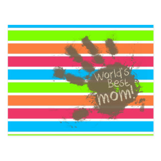 Funny Mom; Retro Neon Rainbow Post Cards