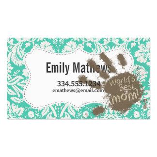 Funny Mom Seafoam Green Damask Business Card