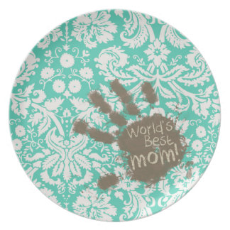 Funny Mom Seafoam Green Damask Party Plates
