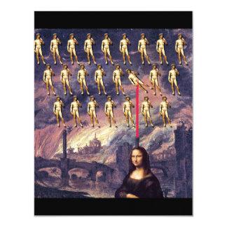 Funny Mona Lisa & David Custom Invitations