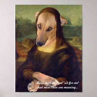 Funny Mona Lisa Puppy Dog Poster