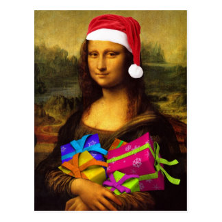 Funny Mona Lisa Santa Claus Post Cards