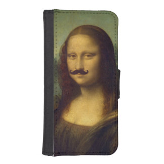 Funny Mona Lisa with Mustache Painting Wallet Phone Case For iPhone SE/5/5s