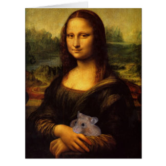 Funny Mona Lisa With Sweet Hamster Card